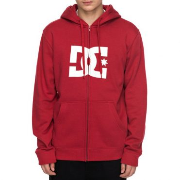 DC Shoes Star Zip Up Hooded Sweatshirt Rio Red White
