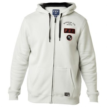 Fox District 4 Zip Pullover Fleece Hooded Sweatshirt Light Grey