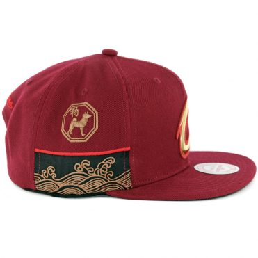Mitchell & Ness Cleveland Cavaliers Chinese New Year Snapback Hat Burgundy