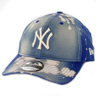 New Era 9Twenty New York Yankees Bleached Out Strapback Hat Light Royal