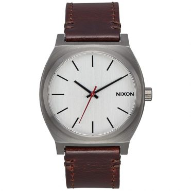 Nixon Time Teller Watch Gunmetal Silver Dark Brown