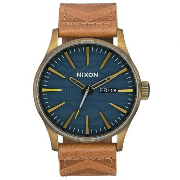 Nixon Sentry Leather Watch Brass Navy Hickory
