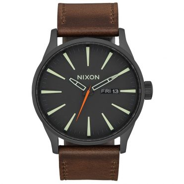 Nixon Sentry Leather Watch Black Lum Taupe