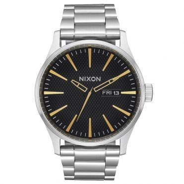 Nixon Sentry SS Watch Black Stamped Gold