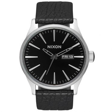 Nixon Sentry Leather Watch Black Gunmetal Black