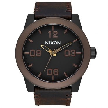 Nixon Corporal Watch Black Brown Brass