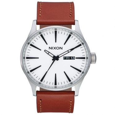 Nixon Sentry Leather Watch White Sunray Saddle