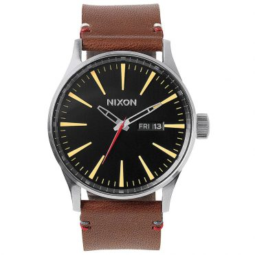 Nixon Sentry Leather Watch Black Brown