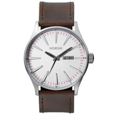 Nixon Sentry Leather Watch Silver Brown