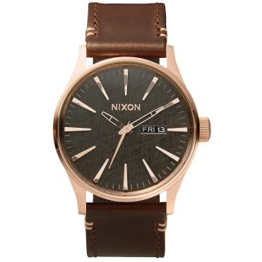Nixon Sentry Leather Watch Rose Gold Gunmetal Brown