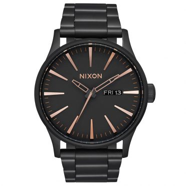 Nixon Sentry SS Watch Black Rose Gold