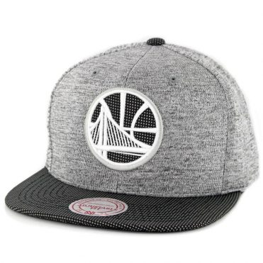 Mitchell & Ness Golden State Warriors Space Knit Snapback Hat Silver Charcoal