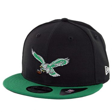 New Era 9Fifty Philadelphia Eagles Throwback 2 Tone Snapback Hat Black Kelly Green