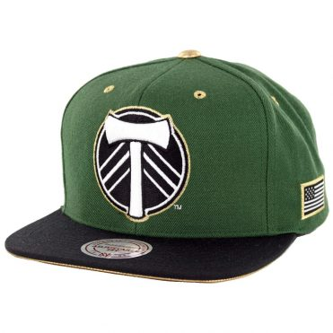 Mitchell & Ness Portland Timbers Gold Tip Snapback Hat Hunter Green