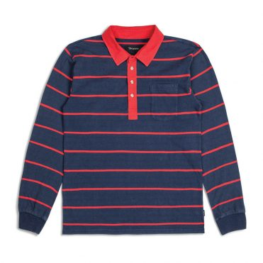 Brixton Belgrade Long Sleeve Polo Knit Shirt Navy Red