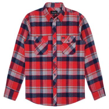 Brixton Bowery Long Sleeve Flannel Red Heather Grey Navy