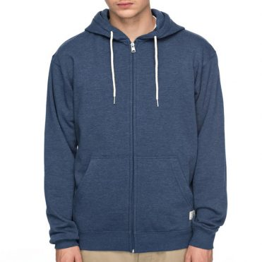 DC Shoes Rebel Zip Up Hooded Sweatshirt Washed Indigo