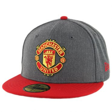 New Era 59Fifty Manchester United Fitted Hat Heather Graphite Scarlet Red