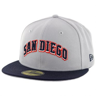 8cf26852ac5 New Era 59Fifty CTO San Diego Padres Wordmark Jersey Logo Fitted Hat Grey  Dark Navy ...