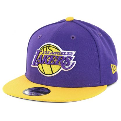 New Era 9Fifty Los Angeles Lakers Side Stated Snapback Hat Purple Yellow