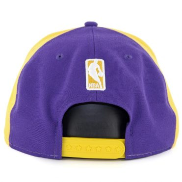 New Era 9Fifty Los Angeles Lakers Team Retro Wheel Snapback Hat Yellow White Purple