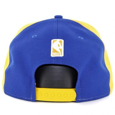 New Era 9Fifty Golden State Warriors Team Retro Wheel Snapback Hat Yellow White Royal Blue