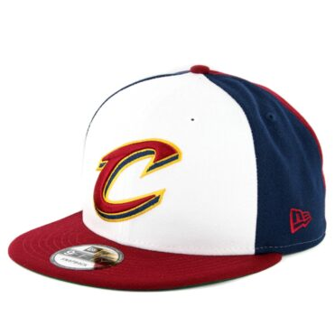 New Era 9Fifty Cleveland Cavaliers Team Retro Wheel Snapback Hat Navy White Burgundy