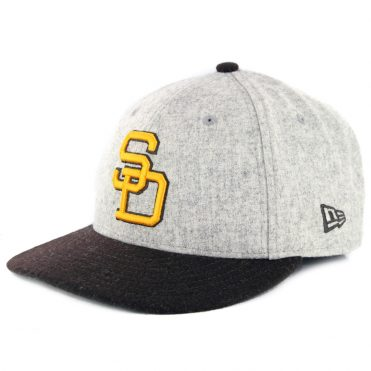 New Era 9Fifty San Diego Padres Melton Throwback Snapback Hat Heather Grey Dark Brown