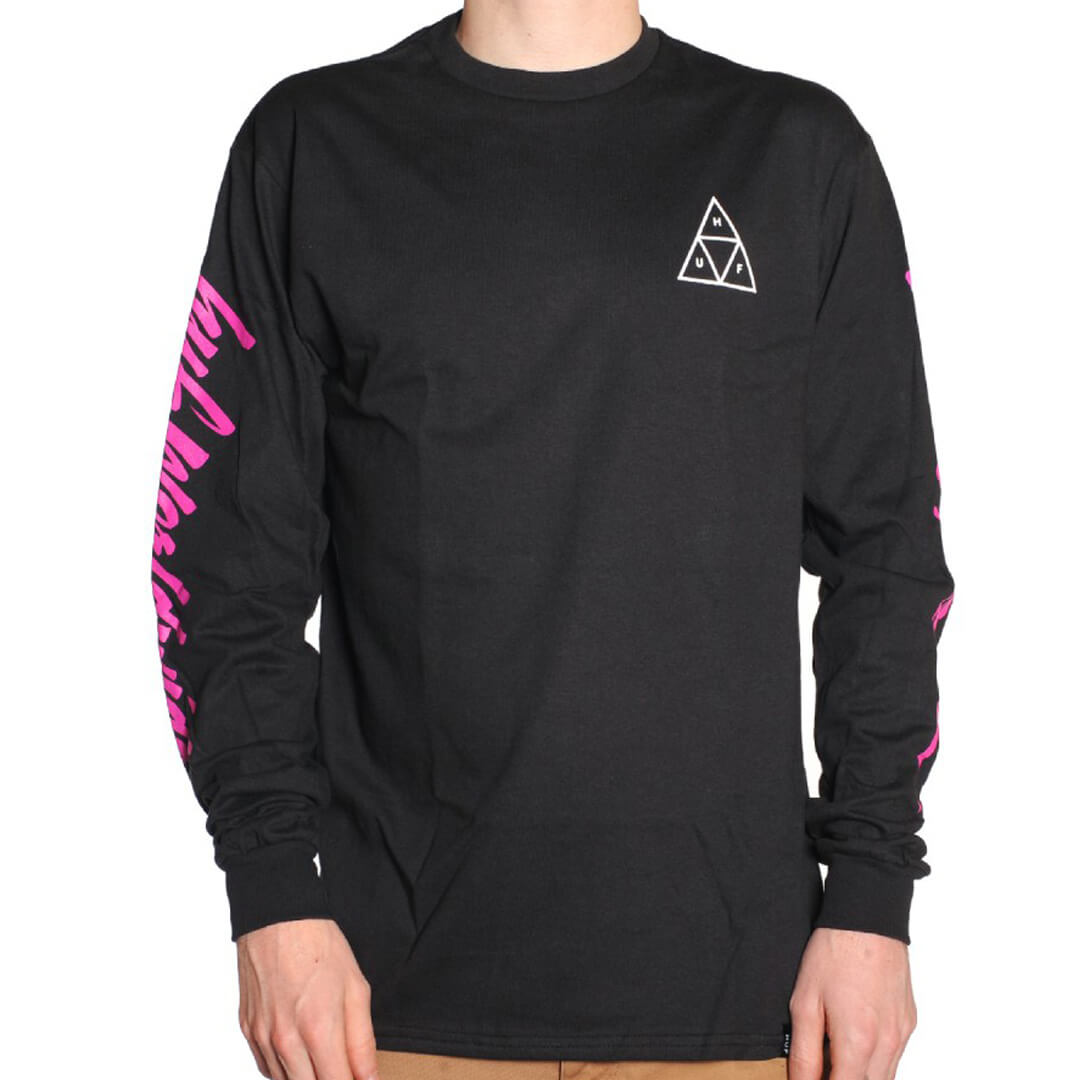 HUF Night Call Triple Triangle Long Sleeve T-Shirt Black