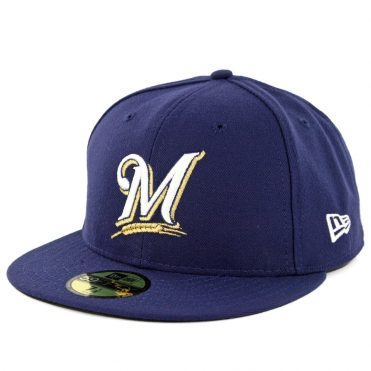 New Era 59Fifty Milwaukee Brewers 2019 Game Authentic On Field Fitted Hat Navy
