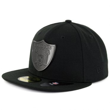 New Era 59Fifty Oakland Raiders Sleeked Finish Fitted Hat Black