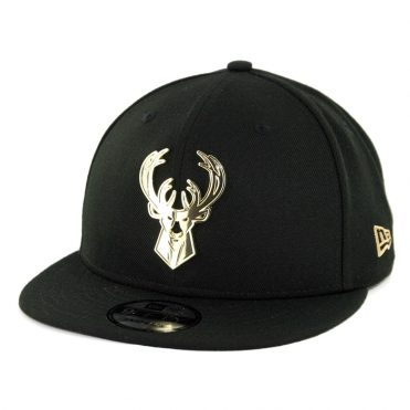 New Era Milwaukee Bucks Metal Framed Snapback Hat Black