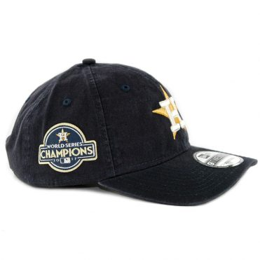 New Era 9Twenty Houston Astros World Series Champions 2017 Gold Patch Strapback Hat Navy