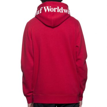 HUF Outline Box Logo Pullover Hooded Sweatshirt Red