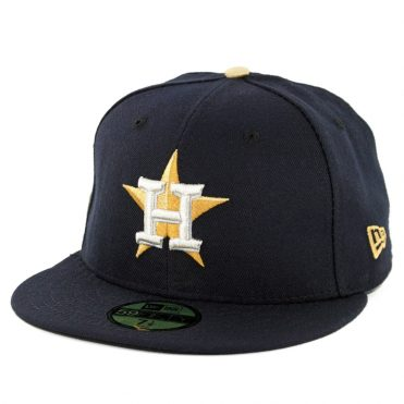 New Era 59Fifty Houston Astros World Series Champions 2017 Gold Patch Fitted Hat Dark Navy