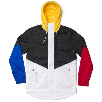 The Quiet Life Park Windbreaker Jacket Black Yellow Royal Blue