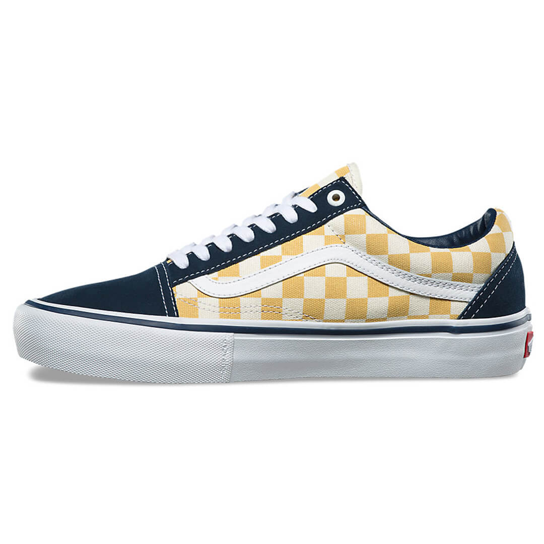 Vans Old Skool Pro Checkerboard Shoes Dress Blues / Ochre NAVY blu