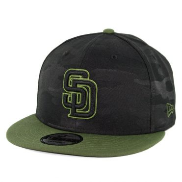 New Era 9Fifty San Diego Padres 2018 Memorial Day Snapback Hat Black Army Green