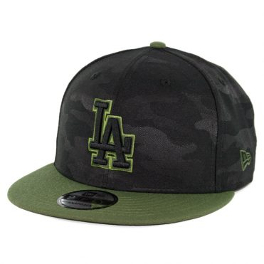 New Era 9Fifty Los Angeles Dodgers 2018 Memorial Day Snapback Hat Black Army Green
