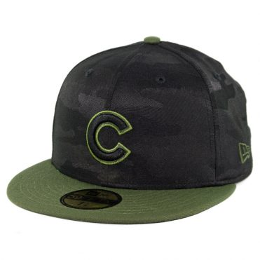 1555c3aabb8fea New Era 59Fifty Chicago Cubs 2018 Memorial Day Fitted Hat Black Army Green  ...