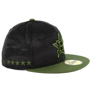 New Era 59Fifty Houston Astros 2018 Memorial Day Fitted Hat Black Army Green