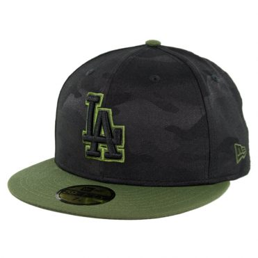 New Era 59Fifty Los Angeles Dodgers 2018 Memorial Day Fitted Hat Black Army Green