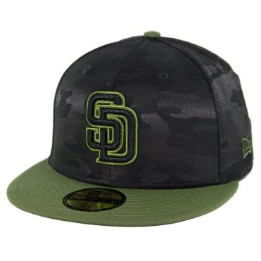 New Era 59Fifty San Diego Padres 2018 Memorial Day Fitted Hat Black Army Green