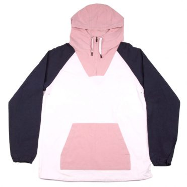 The Quiet Life Boardwalk Windy Pullover Jacket White Navy Pink