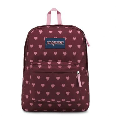 JanSport Superbreak Back Pack Russet Red Bleeding Hearts