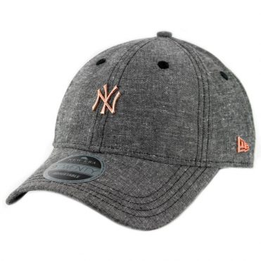 New Era 9Twenty New York Yankees Team Badged Strapback Hat Heather Graphite