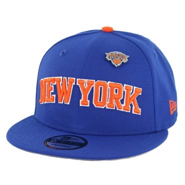 New Era 9Fifty New York Knicks Pinned Snapback Hat Royal Blue