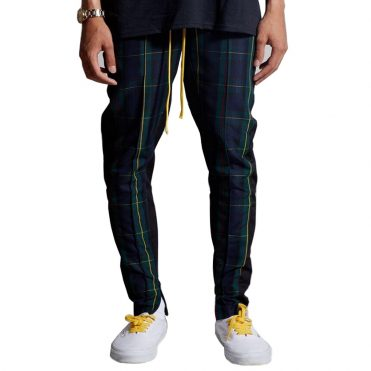 Civil Plaid Track Pants Green