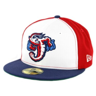 New Era 59Fifty Jacksonville Jumbo Shrimp Fitted Hat Red White Light Blue
