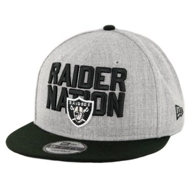 New Era 9Fifty Oakland Raiders Raider Nation Snapback Hat Heather Grey Black